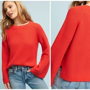 Anthropologie Needle Leah Ribbed Orange Pullover